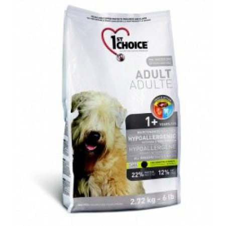 1ST CHOICE ADULT HIPOALLERGENIC GF ALL, гипоаллергенный корм для взрослых собак (утка с картофелем)