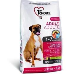 1ST CHOICE ADULT SENSITIVE SKIN & COAT ALL BREED, Корм для взрослых собак всех пород 1-7 лет с чувствительной кожей и шерстью (ягненок, рыба, коричневый рис).
