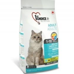 1ST CHOICE HEALTHY SKIN & COAT ADULT, корм для взрослых кошек с 1 до 10 лет «Здоровая шерсть и кожа» (лосось).