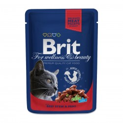 Brit Premium Cat Beef Stew & Peas (Говядина и горошек), Влажный корм для кошек