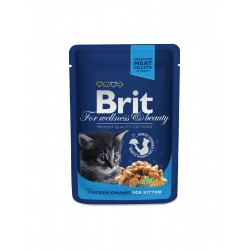 Brit Premium Cat Chicken Chunks for Kitten (Курица), Влажный корм для котят
