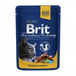 Brit Premium Cat Chicken & Turkey (Курица и индейка), Влажный корм для кошек