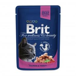 Brit Premium Cat  Salmon & Trout (Лосось и форель), Влажный корм класса премиум для взрослых кошек