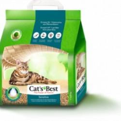 Cat's Best Sensitive, древесный комкующийся наполнитель с антибактериальной добавкой для деликатных кошек