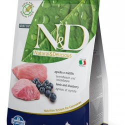 Farmina N&D Grain Free Lamb&Blueberry Adult. беззерновой корм для взрослых кошек (ягненок/черника).