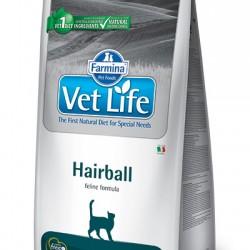 Farmina Vet Life Hairball, полнорационный сухой корм для взрослых кошек, способствующий выведению комочков шерсти из кишечника