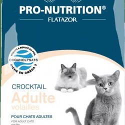 Flatazor Crocktail Adult Volailles, Полнорационный корм для взрослых кошек всех пород с мясом курицы, утки и индейки. Профилактика образования комков шерсти в желудке.