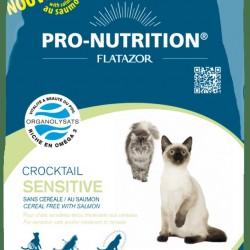 Flatazor Crocktail Sensitive (с лососем),  беззерновой корм для взрослых кошек с чувствительным желудком с мясом курицы, утки и индейки