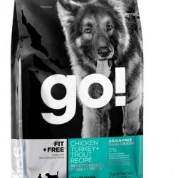 GO!  Fit + Free, беззерновой корм для собак всех возрастов 4 вида мяса: индейка, курица, лосось, утка