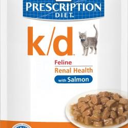 Hill's Prescription Diet Feline k/d Salmon (Лосось), лечебная диета для кошек при заболеваниях почек и сердца
