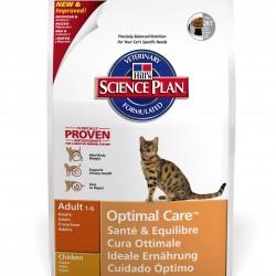 Hills Science Plan Feline Adult Optimal Care Chicken (Курица), полнорационный сухой корм для взрослых кошек от 1 до 7 лет