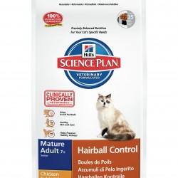 Hill`s Science Plan Feline Mature Adult 7+ Hairball Control Chicken (Курица), корм для кошек старше 7 лет для профилактики образования комков из шерсти в ЖКТ