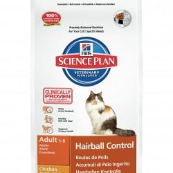 Hill`s Science Plan Feline Adult Hairball Control Chicken (Курица), корм для кошек от 1 до 7 лет для уменьшения образования комков шерсти в ЖКТ