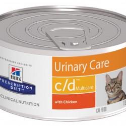 Hill's Prescription Diet Feline c/d Chicken (Курица), лечебная диета для кошек, предрасположенных к струвитному и/или оксалатному уролитиазу, а также идиопатическому циститу (ИЦК).