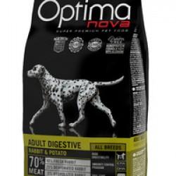 Optimanova Adult Digestive Rabbit&Potato, ветеринарная диета, беззерновой корм для взрослых собак с проблемами пищеварения