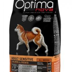 Optimanova Adult Sensitive Salmon&Potato, беззерновой корм для взрослых собак с чувствительным желудком