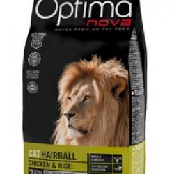 Optimanova Hairball Chiken&Rice, полноценный корм для взрослых кошек для выведения шерсти