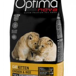 Optimanova Kitten Chiken&Rice, полноценный корм для котят с 2 до 12 месяцев, рекомендован для кошек в период беременности и лактации