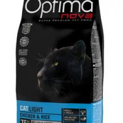 Optimanova Light Chiken&Rice, полноценный корм для взрослых кошек, склонных к избыточному весу