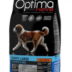 Optimanova Puppy Large Chiken&Rice, полноценный корм для щенков крупных пород от 2 до 12 месяцев