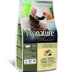 PRONATURE HOLISTIC SENIOR OR LESS ACTIVE OCEAN FISH & WILD RICE, Корм для пожилых или малоактивных кошек с 10 лет (белая рыба, дикий рис)