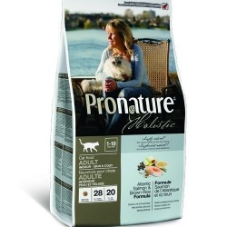 PRONATURE HOLISTIC ADULT SALMON & BROWN RICE, Корм для взрослых кошек 1-10 лет для здоровья кожи и шерсти (лосось, коричневый рис)
