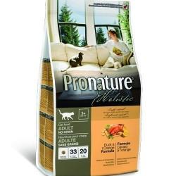 PRONATURE HOLISTIC GF ADULT DUCK & ORANGE, беззерновой корм для взрослых кошек с 1 года, без содержания зерна (утка, апельсин).