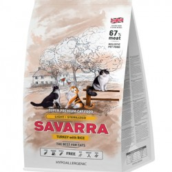 SAVARRA LIGHT/STERILIZED CAT, корм для кошек и избыточным весом и стерилизованных (индейка с рисом)
