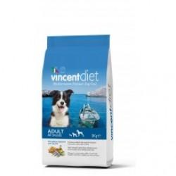 Vincent Diet With Oily Fish, сбалансированный корм для взрослых собак всех пород с рыбьим жиром