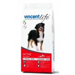 VincentLife Dog Active Chicken & Rice, Полнорационный корм с курицей и рисом для взрослых активных собак всех пород 1 до 7 лет.