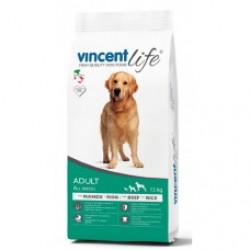 VincentLife Dog - Adult Beef & Rice, Полнорационный корм  с говядиной и рисом для собак всех пород от 1 до 7 лет.
