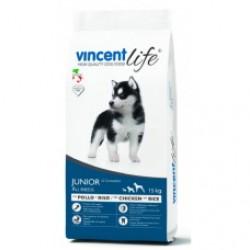 VincentLife Dog Junior Chicken & Rice, Полнорационный корм  с курицей и рисом для щенков всех пород от 2 до 12 месяцев.