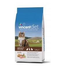 Vincent Diet Cat Adult Chicken, Полнорационный корм для взрослых кошек с курицей