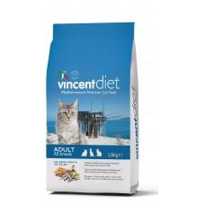 Vincent Diet Cat Adult Blue Fish, Полнорационный корм для взрослых кошек с рыбой