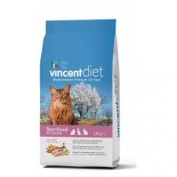 Vincent Diet Cat Sterilized Chicken, Полнорационный корм для взрослых стерилизованных кошек с курицей